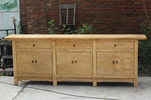 Antique reproduction natural raw sideboard buffet cabinet