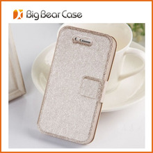 Factory wallet leather flip bag case for iphone 4