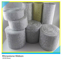 "Rhinestone Mesh Roll Silver 10 Yards 4.75"",Round 4mm 24 Rows Rhinestone Mesh Ribbon"