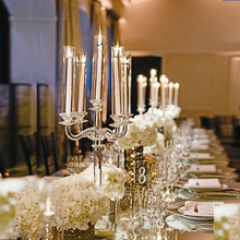 Crystal wedding candelabra flower centerpiece table stand candle holder