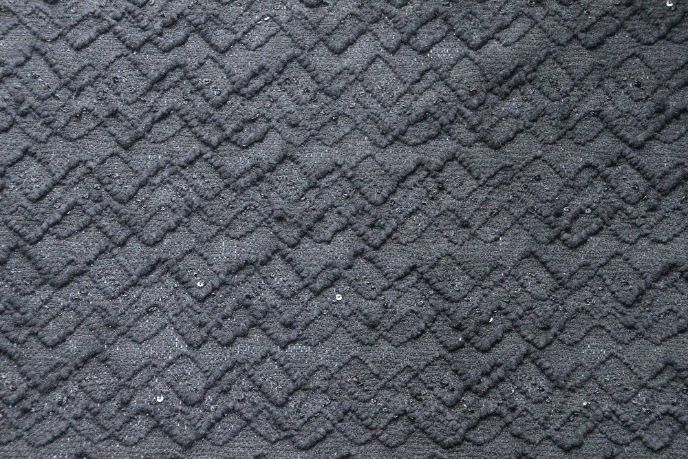 Grey Sequin 100 Polyester Non Slip Italian Suit Fabric