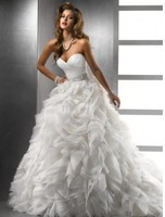 Sweetheart Ball Gown Ivory Silver Beads Crystals Waist Organza Wedd