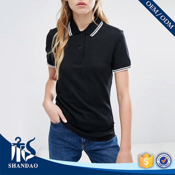 Guangzhou shandao factory casual short sleeve 200g 95%cotton 5%spandex summer ladies two color polo shirt