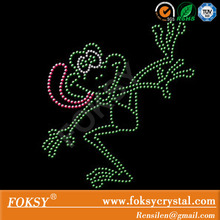 funny frog hotfix rhinestone iron on transfer cartoon design