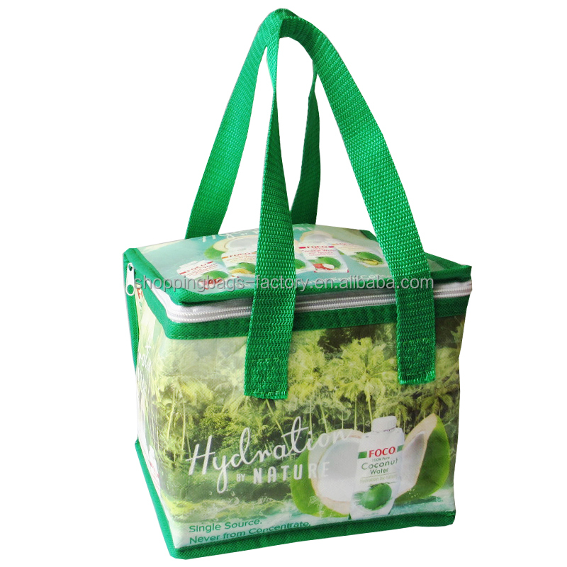 Beverage Show Food EXPO Promo Poolside Laminated Non Woven Coconut Juice Bottle Printed Cooler Bag