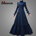 Nevy Blue Muslim Women Dress Long Sleeves In Plus Size Islamic Clothing Waistband Hot Sale Caften Abaya