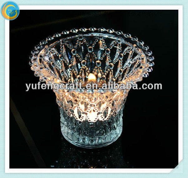 An crown crystal glass tealight candle holder