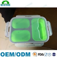 2015 Top selling food grade silicone 3 compartment collapsible lunch box