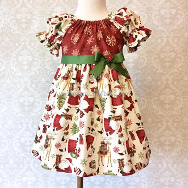 wholesale ruffle Santa Claus printing children boutique kids Christmas vintage dress