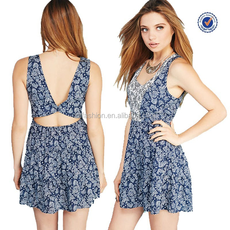 The new fashion pretty paisley open-back Dress batik casual summer dress