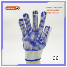 SHINEHOO Cotton Hand Protection PVC Dot Construction Work Gloves