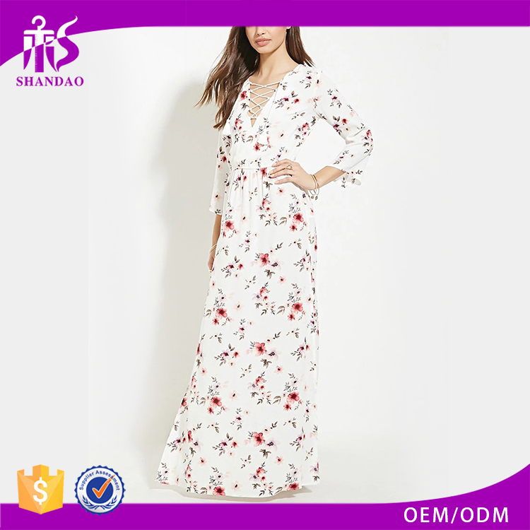Guangzhou Shandao Longline White Floral Printed Deep V Lace Up Elastic Waist Split Sides OEM Bulk Ladies Western Dress Designs