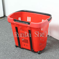 plastic shopping with wheels grocery basket