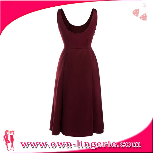 solid color Women Burgundy Dress Strap round neck elegant Evening party Dress wholesale