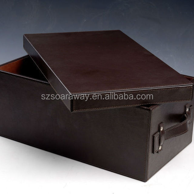 Home and office use Pu Faux Leather DVD storage box organizer