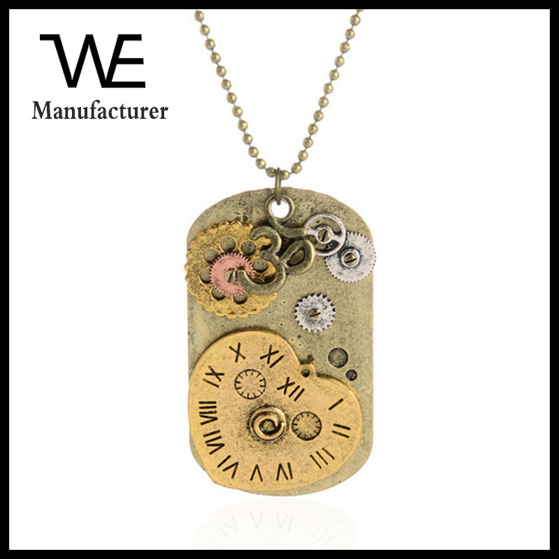 Retro Exaggerated Ornaments Steampunk Dog Tag Peach Solid Heart Clock Pendant Necklace For Man And Woman