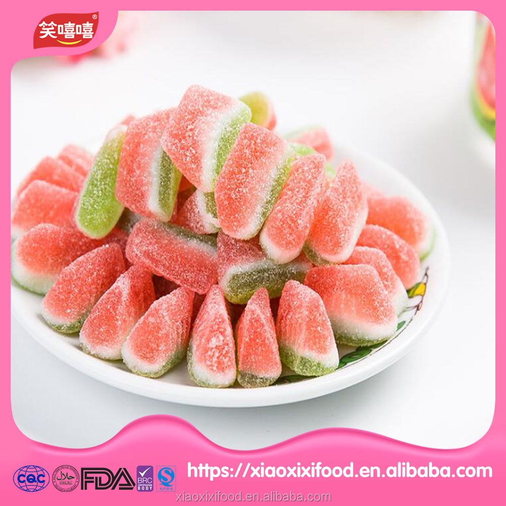 HALAL certified sugar coated watermelon gummy candy wholesale