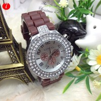 Fashion geneva diamond chocolate watch