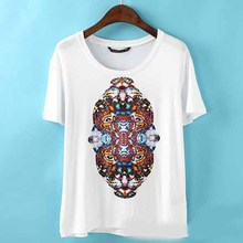 NEW1014 western colorful tiger head ladies t-shirt stylish short sleeve cotton plain t-shirt for women