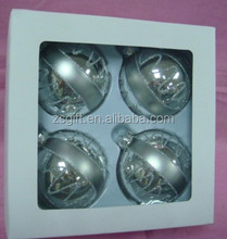 CGA high quality cheap frosted silver hanging glass Christmas ball for tree decor