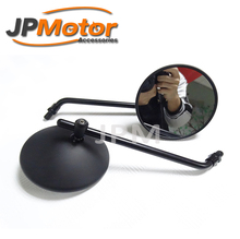 "New Pair Universal 4"" Round Long Stem Motorcycle Mirrors 10mm Black"