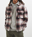 China factory OEM Mens flannel shirt checked long sleeves two chest pockets jacket shirt