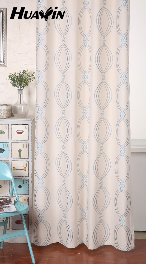 polyester cotton new canvas plain embroidery window curtain design