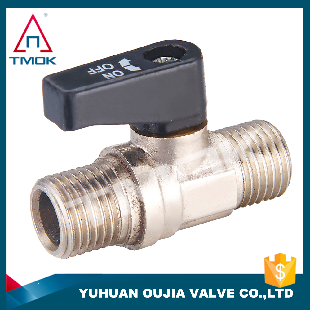 TMOK mini brass ball valve withiron ball and palstic handle and double malde thread connection and high pressure