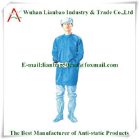 2014 Hot selling cotton/polyester fabric cvc 60/40 working clothes Cleanroom suit overalls TC antistatic twill fabric