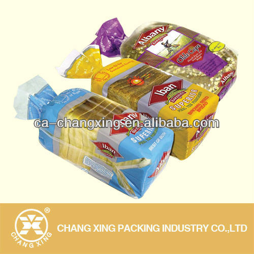 high quality printed bopp plastic bag packing bread/toast plastic packaging bag