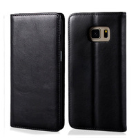C&T Black Genuine Leather Wallet Flip Shell Folio Cover for Samsung Galaxy S7