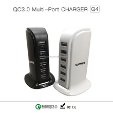 Hot selling QC3.0 smart charger 6 ports multi port usb chargers 60W output(Q4)