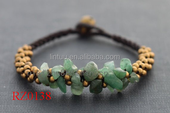 Wholesale promotional jade <strong>stone</strong> and brass bell beads bracelet