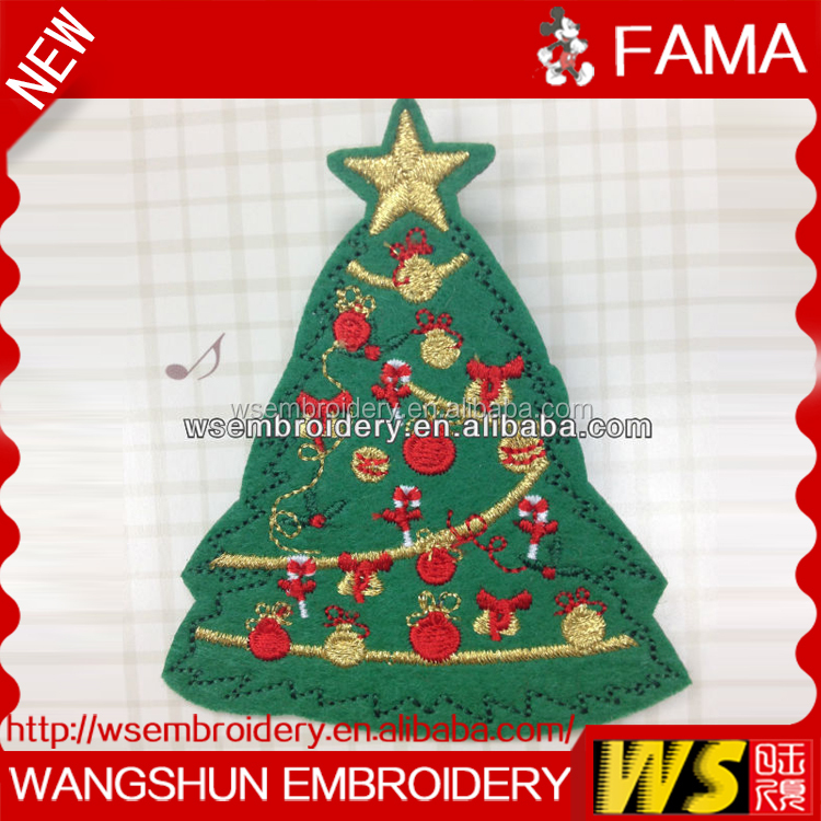 Popular Promotional Items Christmas Tree Embroidery,Embroidery Badge,Embroidery Design