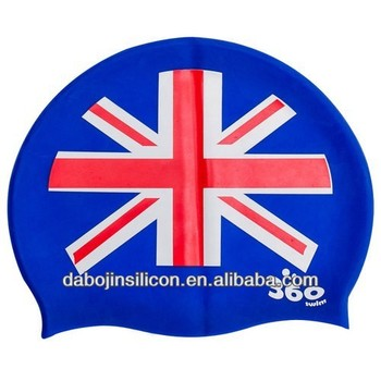 England UK GB national Flag Patriotic Silicone Swimming Cap for Men Women Youth