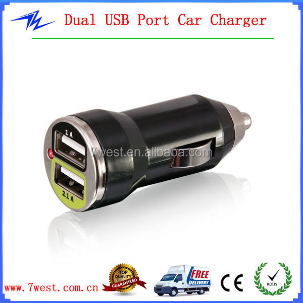 Mini Dual Port USB Car Charger Adapter for iphone ipad with CE&RoHS