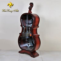 luxury violin wood wine cabinet with glass door for living room furniture decoration / modern display cabinet