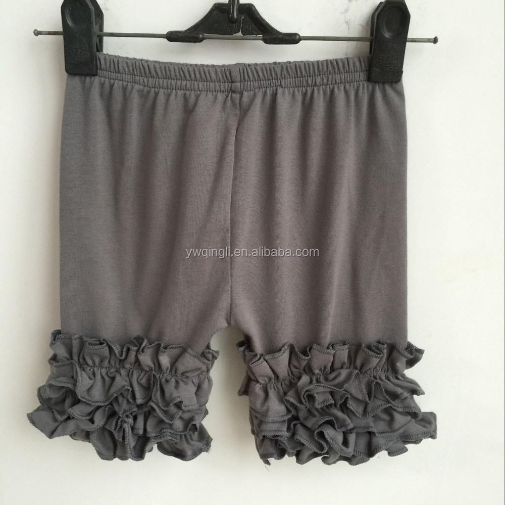 FLF-793 children girl summer boutique cotton shorts baby soild icing ruffle shorts toddler 2016