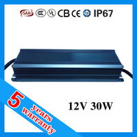 5 years warranty CE ROHS TUV SAA approved waterproof IP67 LED driver 30W 12V 2.5A
