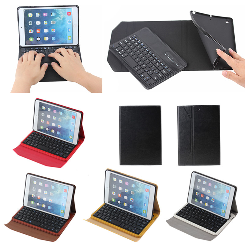 Crazy horse keyboard leather case for ipad mini with tpu insert