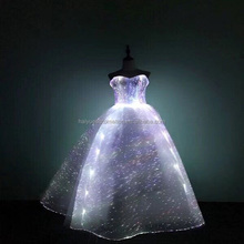 Light Up optical Fabric clothes Women Evening Party Gown Ball Banquet frim Show Formal Luminous Fiber Optic Wedding Dress