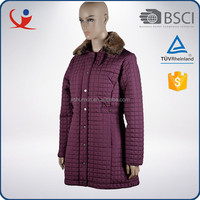 China blank windproof polyester long warm women clothes winter