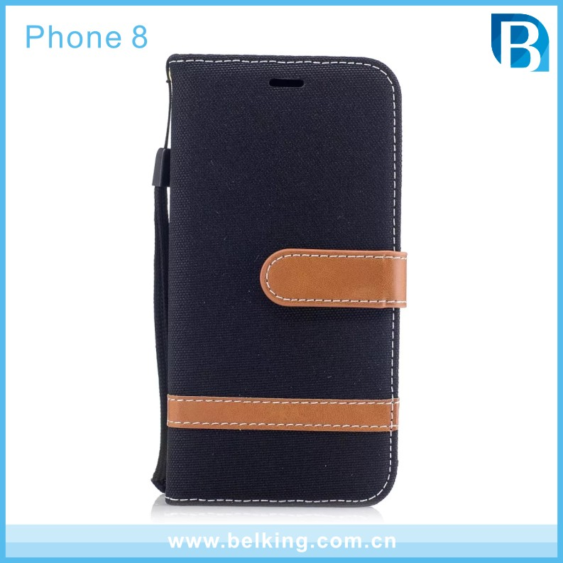 Denim PU Flip Leather Case for iPhone 8 , for iPhone 8 Case
