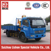 Dongfeng 4X2 folding arm truck crane, truck mounted with crane 3.2T