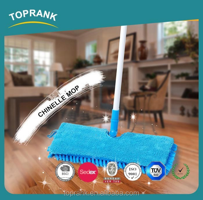 Toprank Household Double Side Cleaning Microfiber Chenille Cloth Flat Mop Telescopic Handle 360 Degree Clean Floor Dust Mop