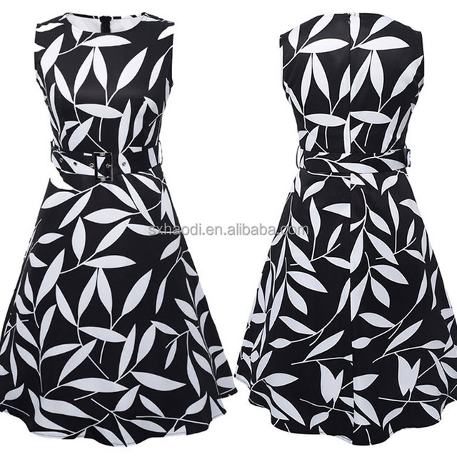 HD-63 UK Style Black and White 1950s designs Vintage dress or floral printed Retro designs
