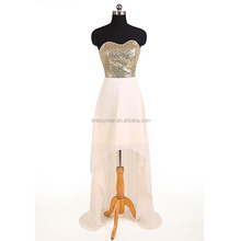 Wholesale Cheap Sequin Bodice Pink Chiffon Front Short Long Back Prom Dress