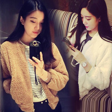 C83296A 2014 autumn plush long-sleeved loose baseball coat/sweet lady coat