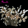 Rose Gold Wedding Hair Comb White Resin Stone Leaf Clusters Flower Charm Centered With Pearl Bridal Hair Comb Hair Accessories