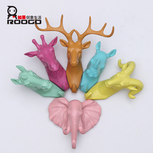 Roogo zakka modern resin macarons animal head clothing wall pothook for cute boy gifts